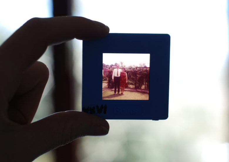 Slide photo held up to a windwo