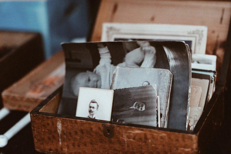 Family photos in a box