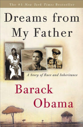 Dreams from My Father book cover, pictures of barack obama and his mother and father