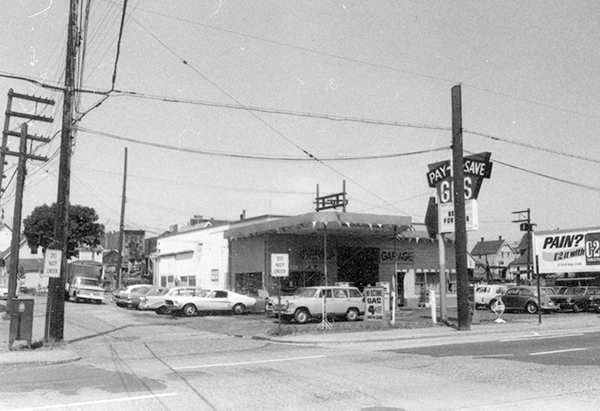 1969; Photograph shows Iberica Garage and Northland Cafe.