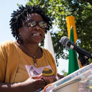 Nontombi Naomi Tutu at a speaker's podium